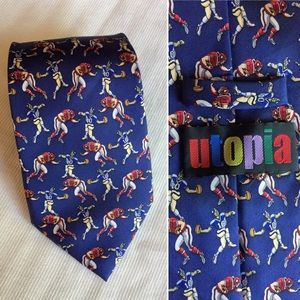 Vintage Utopia football print silk hand made tie